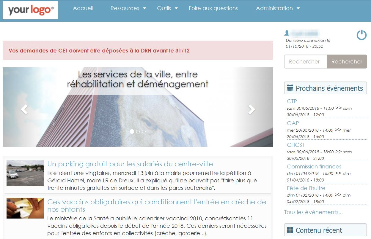 Accueil intranet